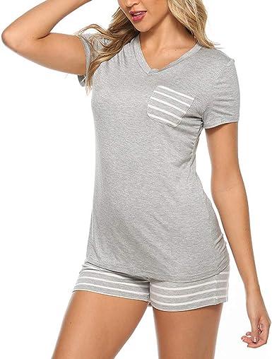 Uni-Wert Pijamas para Mujer Verano Corto Ropa de Dormir Raya Pijama de Algodon Manga Corta Camisetas y Pantalones Cortos Dos Piezas