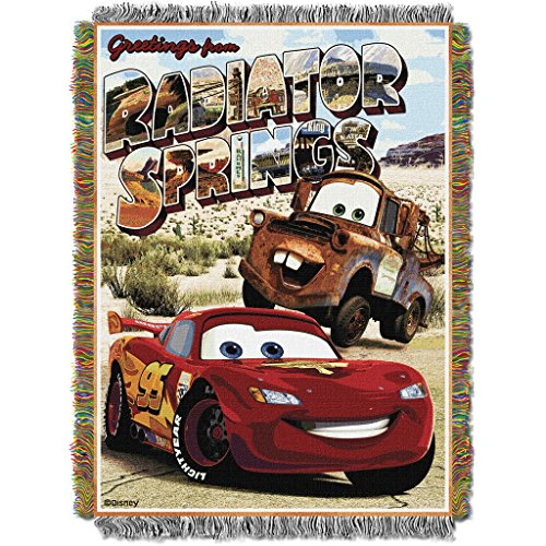 1 Piece 48 X 60 Kids Red Brown Cars Theme Throw Blanket, Novelty Geometric Disney Lightning McQueen Desert Movie Characters Woven Tapestry Car Style Accent Bedding Couch Sofa Bedroom Bed, Polyester