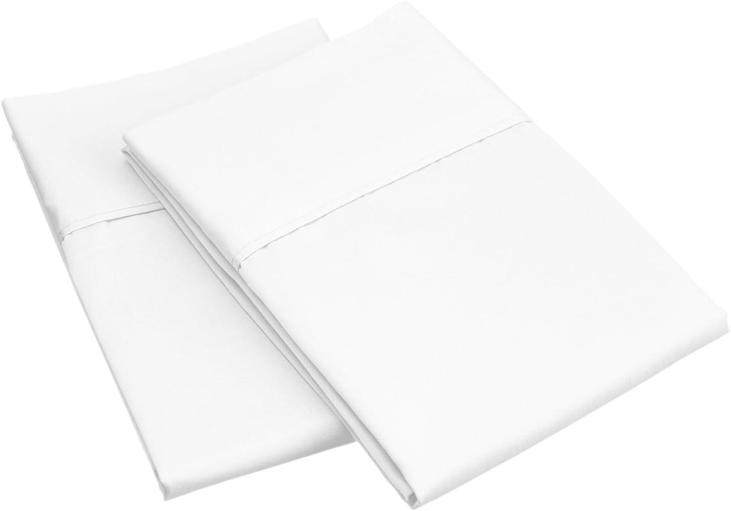 SUPERIOR 800 Thread Count 100% Egyptian Cotton 2 Piece Pillowcase Set, White, Standard