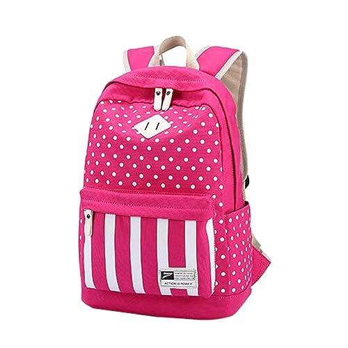 MingTai Backpack Mochilas Escolares Mujer Mochila Escolar Rayas Lona Grande Bolsa Casual Para Chicas Lunares Rayas Viaje Oferta Mochilas Rose: Amazon.es: ...