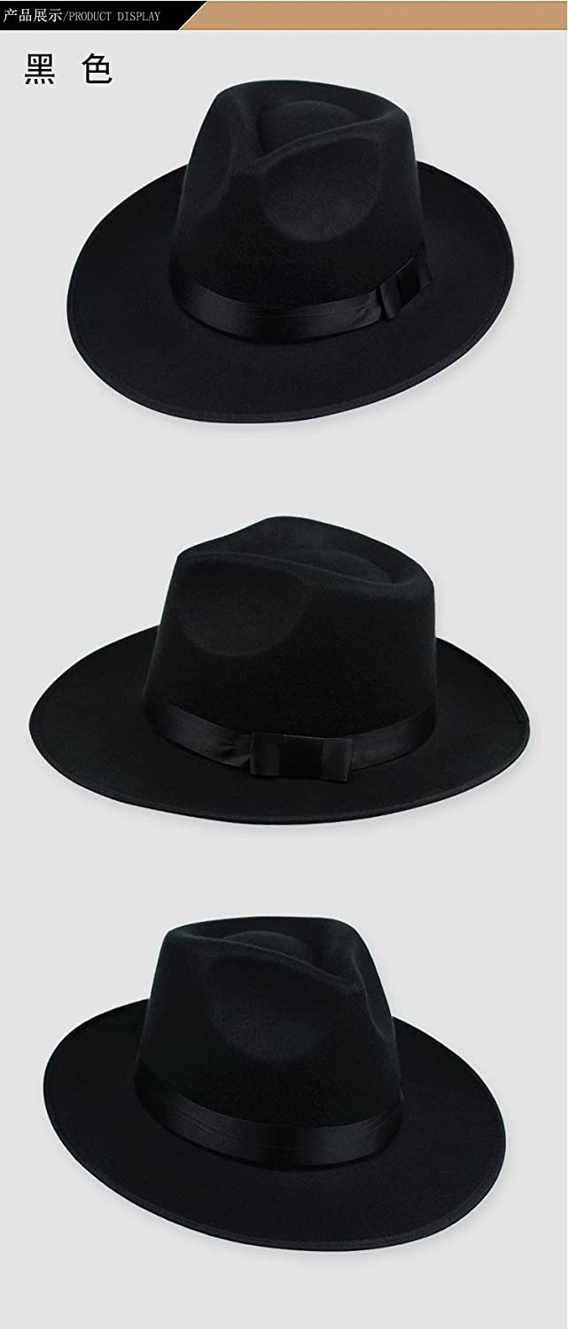 Shuanghao MJ Michael Jackson in Feltro Fedora Cappello Billie Jean Jacket Suit Dance Cosplay Jackson Cappello Nero