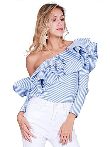 Simplee Apparel La mujer de manga larga con un hombro Off volante volante rayas camisa Tops Blusa az...
