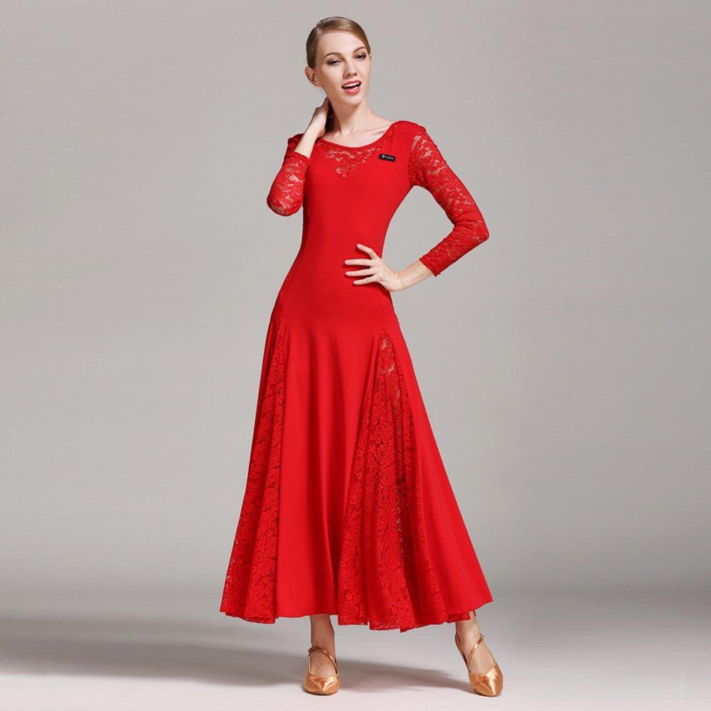 レディーモダンダンスドレスビッグ振り子スカート全国基準ダンスドレスダンスコンペティションパフォーマンスドレスラインストーンダンスコスチュームタンゴワルツスカート B07HHXB53J Large|Red Red Large