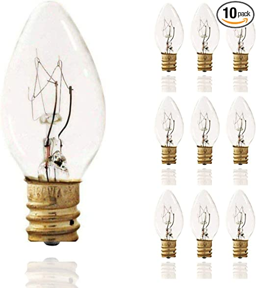 Amazon Com Sterl Lighting Pack Of 10 C7 Replacement Light Bulbs For Electric Candle Lamps Incandescent Night Light Bulb 7 Watt E12 Base 120 Volt Home Improvement