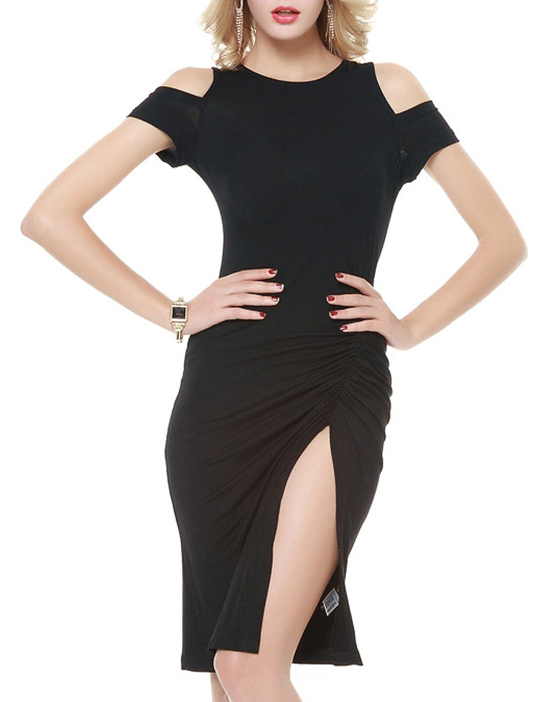 hodoyi Women Solid Cold Shoulder Slit Side Cut Out Bodycon Mini Dress