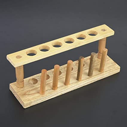 Lab Tube Racks Double Use Wooden Test Tube Stand Chemical Laboratory Tool for Place Drying Test Tubes 6 Holes