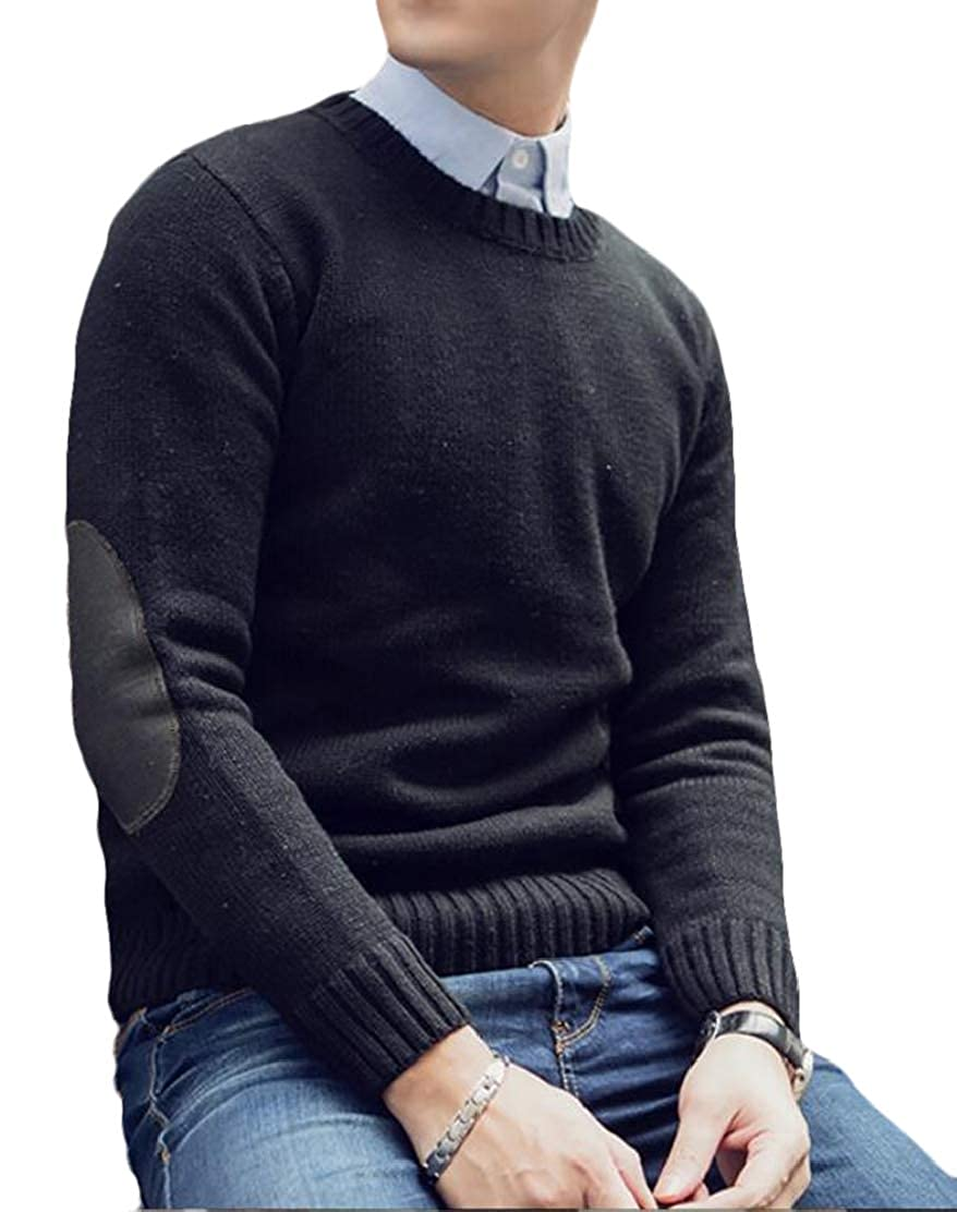 JXG Men Round Neck Elbow Patchwork Long Sleeve Knit Pullover Sweater