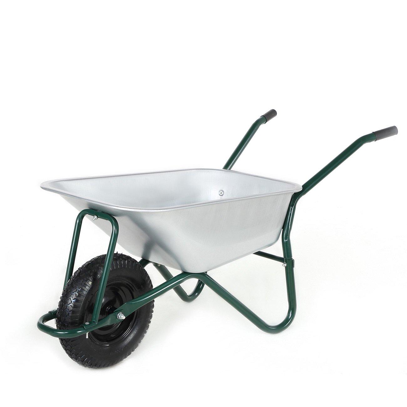 MAXCRAFT Wheelbarrow Garden Cart 100 L 200 kg Tool Gear Wagon Heavy Duty Garden Barrow Pneumatic Tire in Green