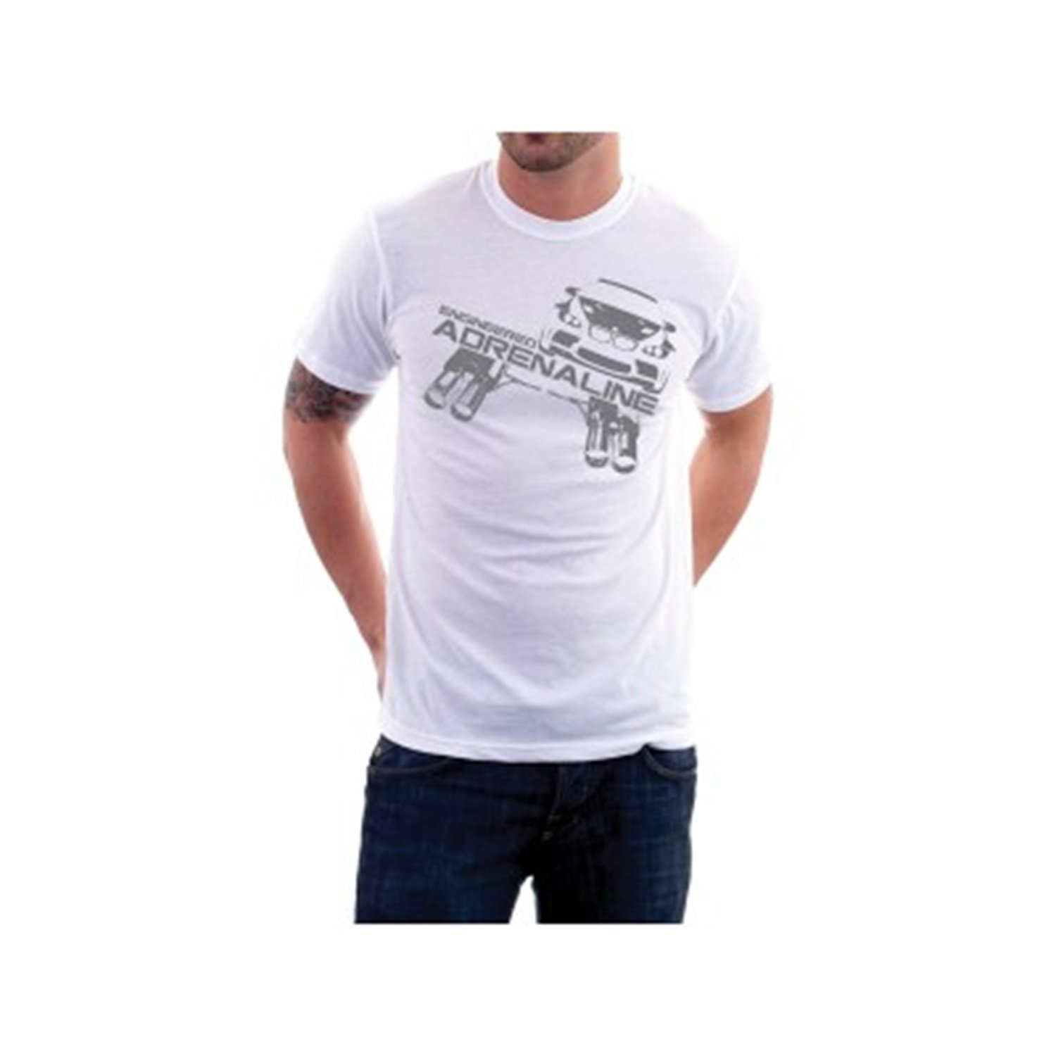 aFe Power Tee Shirt with BMW Exhaust Logo White, Medium