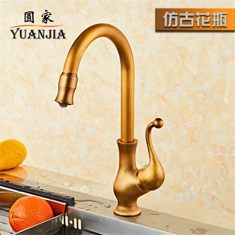 JingJingnet シンクミキサータップ浴室の台所の洗面器の水道水漏れ防止保存水銅アンティークキッチンホット&コールドアンティーク盆地回転シングルハンドルシンク (Color : G) B07RKN94HM G