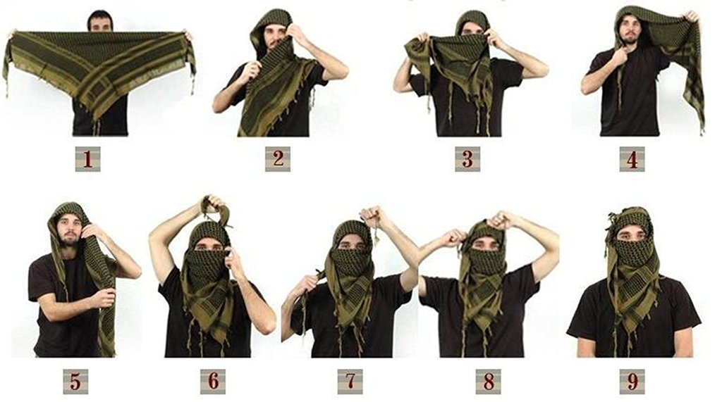 Shemagh Tactical Scarf 8 in 1 Large Thick Military Desert Keffiyeh Head Neck Arabe Scarf by Wildoor (Image #5)