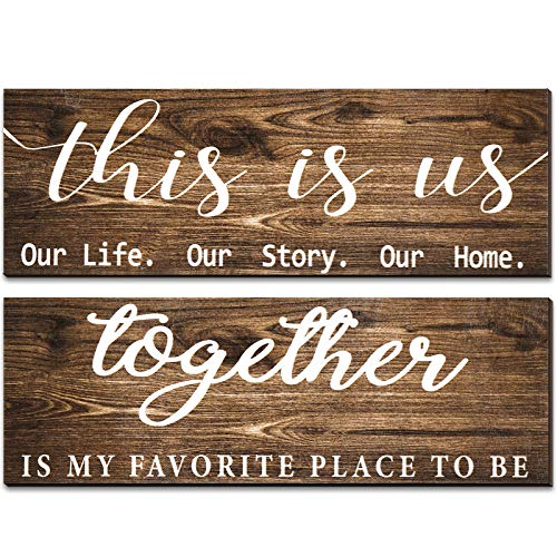 2 Pieces This is Us Our Life Our Story Rustic Print Wood Signs Together Rustic Wooden Wall Art Signs Farmhouse Entryway…