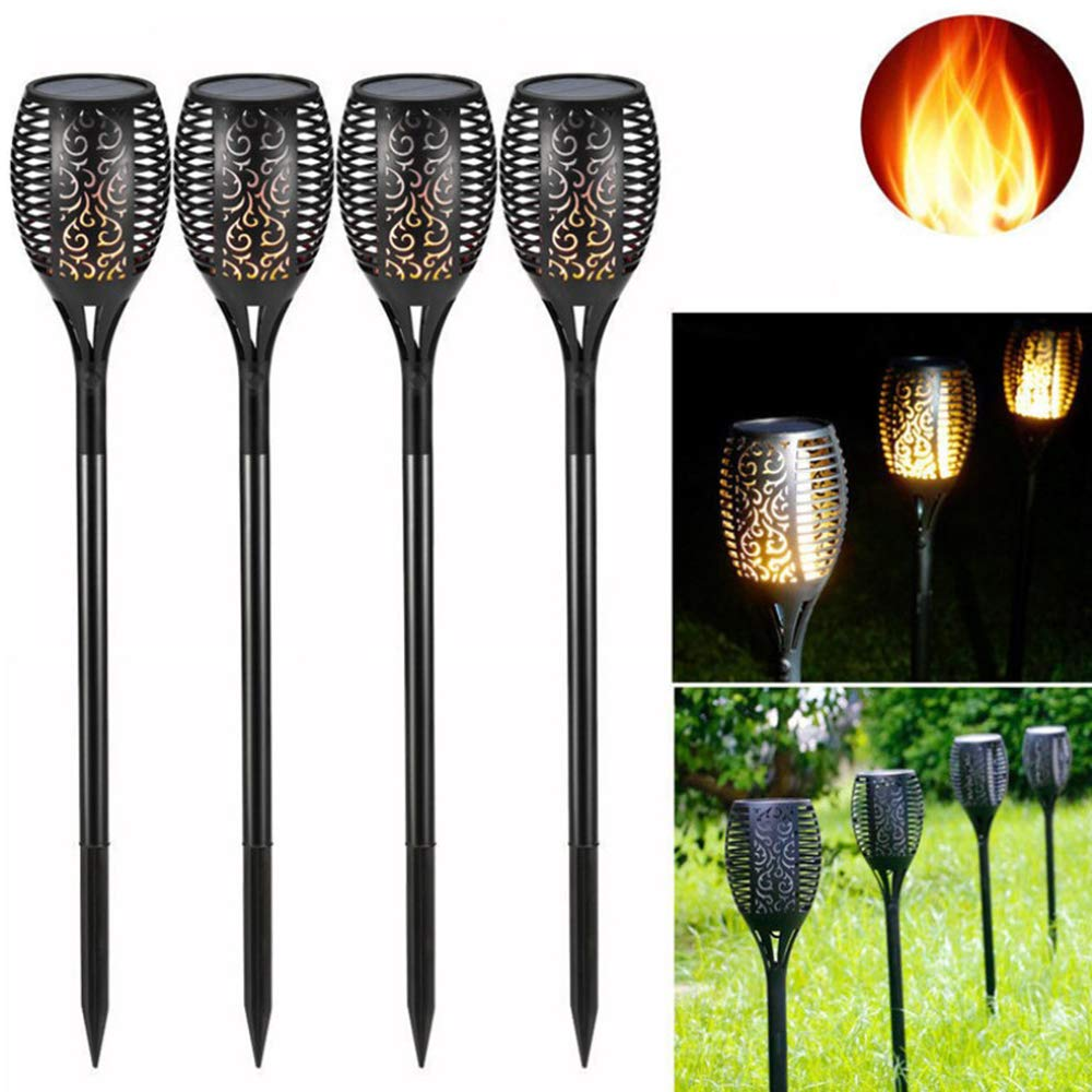 LED Solar Lights Outdoor Flickering Flames Torch Lights,Light Garden Courtyard Lawn to Insert Landscape Lights (4PACK)
