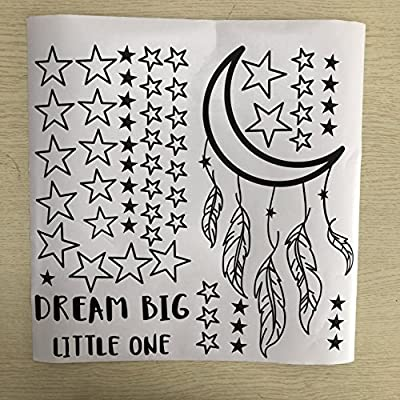 JOYRESIDE Dream Big Little One Night Sleep Wall Decal Vinyl Sticker Stars Decor Good Night Sticker Nursery Kids Babys Room Home Bedroom Quote Decoration YMX15 (Black, Small): Home & Kitchen