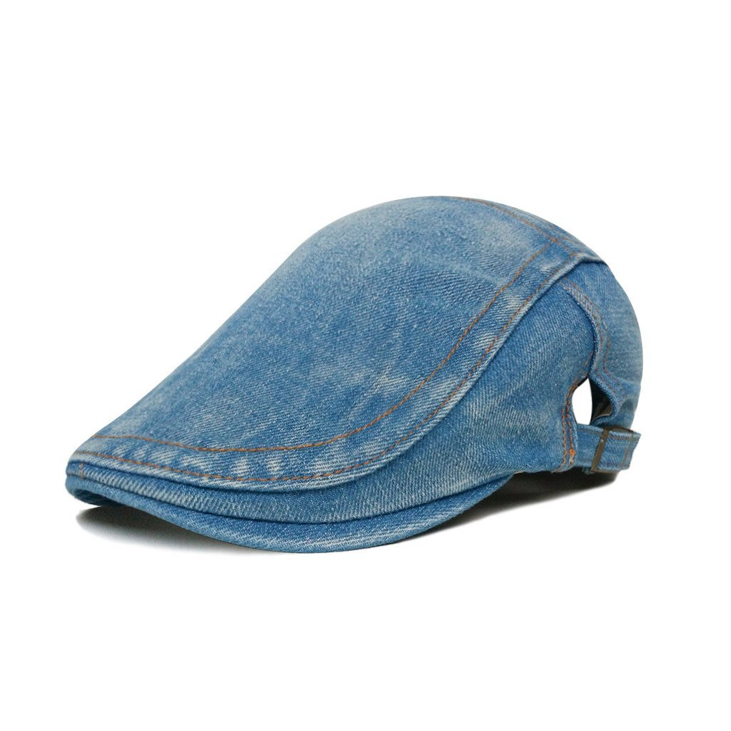 Amazon.com  LETHMIK Denim Flat Cap newsboy IVY Irish Hats Jean Cabbie  Scally Cap duckbill Hat Plain Light Blue  Clothing 658caf7cbcf
