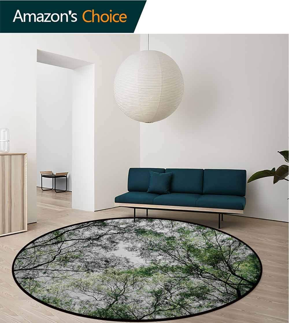 RUGSMAT Nature Non Slip Round Rugs,Tree Branch in Spring Season Fairy Jungle Growth Nature Look Up Wood Scene Photo Print Oriental Floor and Carpets,Diameter-71 Inch Green by RUGSMAT (Image #3)