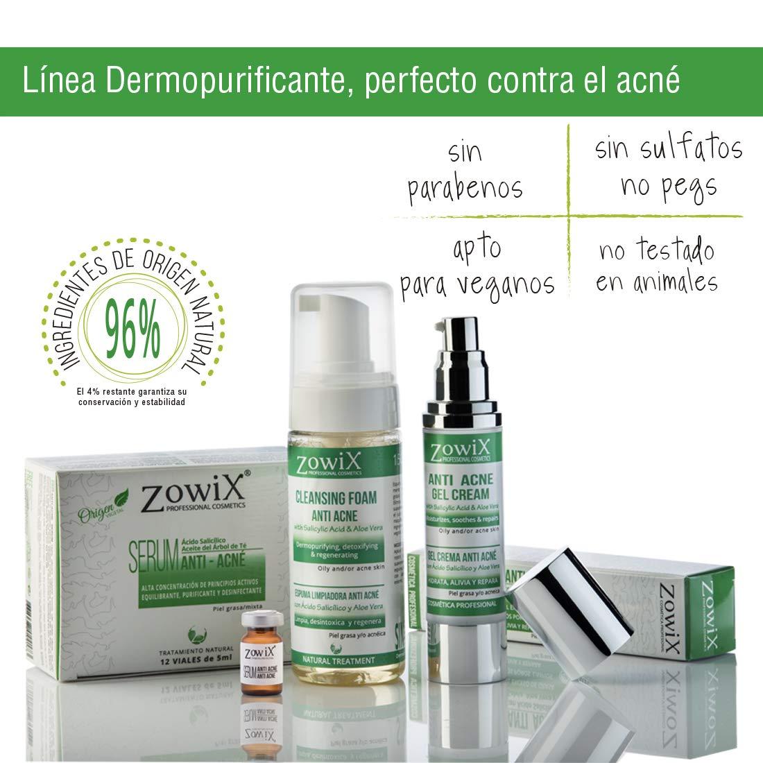 ZOWIX Antiacné en Espuma Limpiadora. Foam purificante suave contra el acné facial. Limpia, desintoxica y ayuda a eliminar espinillas, puntos negros y ...