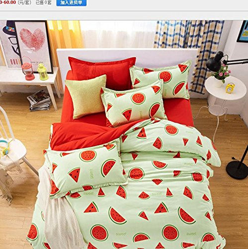 Refreshing watermelon fruit of summer bedding duvet cover four-piece sets, polyester printed quilt cover set twin/Queen/King size duvet cover bed sheet two pillowcases , queen