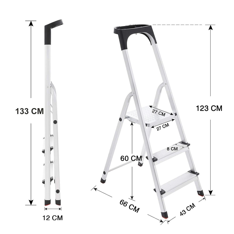 rutschfeste Stehleiter Stehleitern bis 150 kg belastbar T/ÜV S/ÜD GS gepr/üft nach EN131 inklusive Ablageschale Haushaltsleiter GLT03BS SONGMICS Alu Leiter 3 Stufen