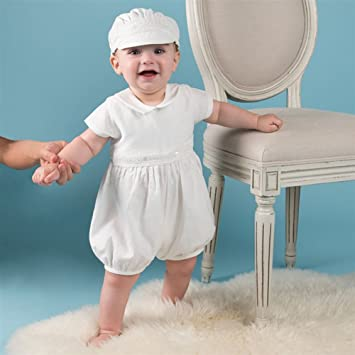 bd3b86f0741bc Asiso ベビー服 新生児 男の子 セレモニードレス カバーオール お帽子付き 2点セット 半袖 お宮参り