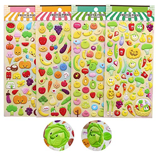 (Stickers for Kids, ForTomorrow Cute DIY Decorative Adhesive Puffy Stickers Tape,Foam Craft Fruit Stickers,Self-Adhesive Decorative Paster Decals for Kids' Scrapbooking or Card(PVC Foam Fruit Stickers))
