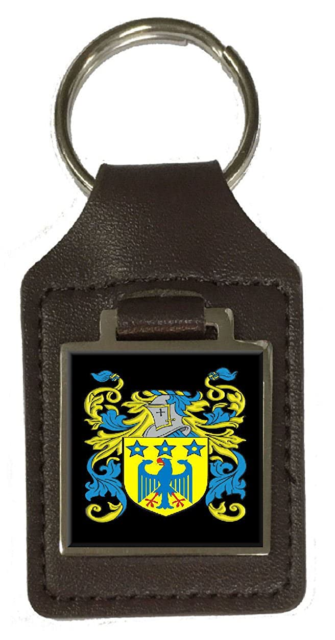 Macneir Family Crest Surname Coat Of Arms Brown Leather Keyring Engraved