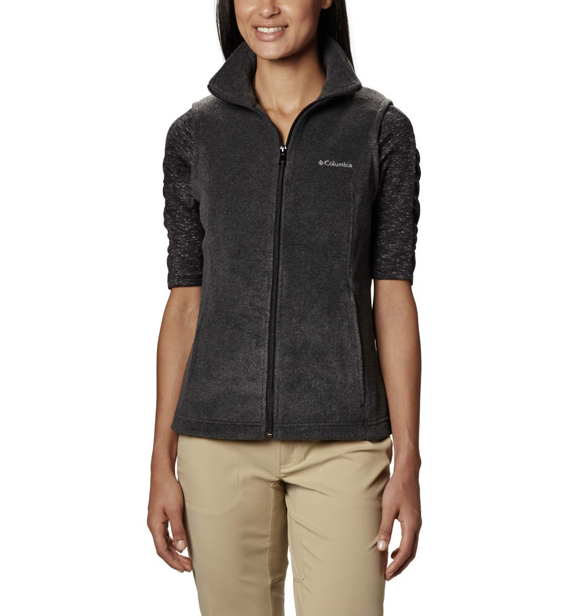 Columbia Women's Petite Benton Springs Vest, Charcoal Heather, Small by Columbia