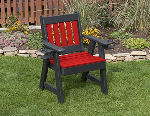 - Ecommersify Inc Bright RED-Poly Lumber Mission Poly Resin 2 FEET Patio Garden Chair with Cupholder arms Heavy Duty Everlasting PolyTuf HDPE - Made in USA - Amish Crafted