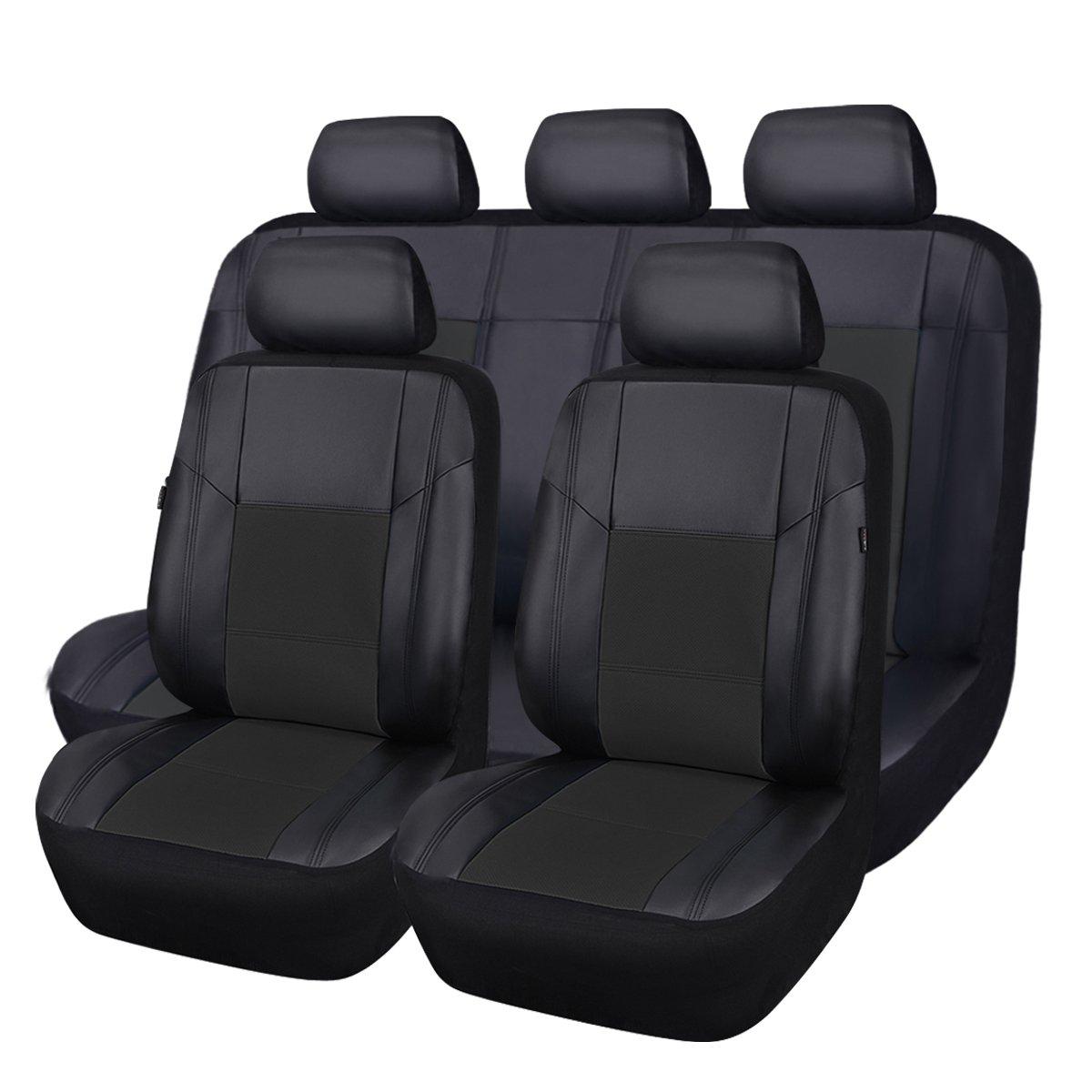CAR PASS 車用シートカバー Skyline PUレザー 車 SUV 乗り物 共用 11PCS ブラック B01HGUOTHG 11PCS|BLACK WITH BLACK BLACK WITH BLACK 11PCS