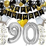old birthday - KUNGYO Classy 90TH Birthday Party Decorations Kit-Black Happy Brithday Banner,Silver 90 Mylar Foil Balloon, Star, Latex Balloon,Hanging Swirls, Perfect Ninety Years Old Party Supplies