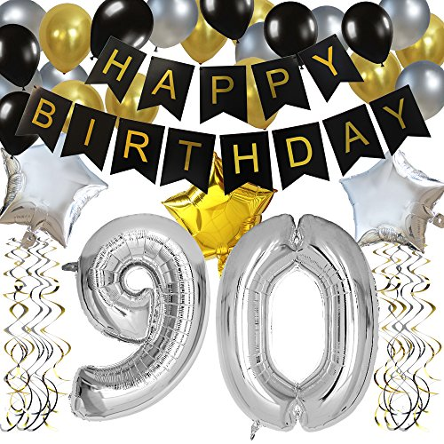 KUNGYO Classy 90TH Birthday Party Decorations Kit-Black Happy Brithday Banner,Silver 90 Mylar Foil Balloon, Star, Latex Balloon,Hanging Swirls, Perfect Ninety Years Old Party Supplies