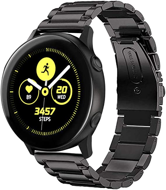 Kartice Bands Compatible with Galaxy Watch Active 2 40mm Bands Active 2 44mm Band 20mm Solid Stainless Steel Strap for Galaxy Watch Active 2 (Black)