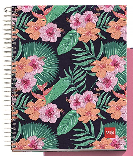 """Miquelrius Medium 4 Subject Wirebound Notebook - Tropic, Hardcover, (120 Sheets(240 Pages, Lined), 6.5"""" x 8"""""""