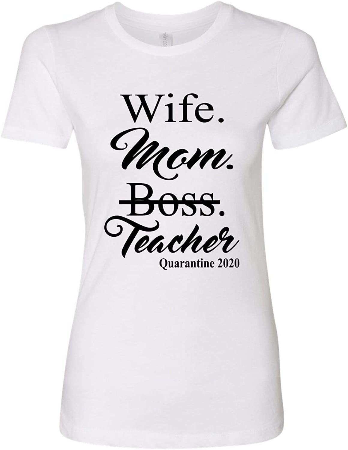 WIFE MOM BOSS TSHIRT WHITE  Funny Lady Tee Family Mother Shirt