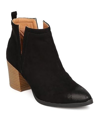 FE74 Women Faux Suede Pointy Toe Slit Chunky Heel Bootie - Black