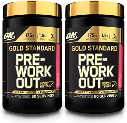 Amazon Com Optimum Nutrition Gold Standard Pre Workout With Creatine Beta Alanine And Caffeine For Energy Flavor Watermelon 60 Servings 2 Pack 120 Total Servings Low Calorie Less Than 1g Sugar Health Personal