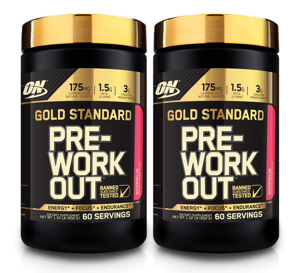 Optimum Nutrition Gold Standard Pre-Workout with Creatine, Beta-Alanine, and Caffeine for Energy, Flavor: Watermelon, 60 Servings (2 Pack - 120 Total Servings) Low Calorie- Less Than 1g Sugar