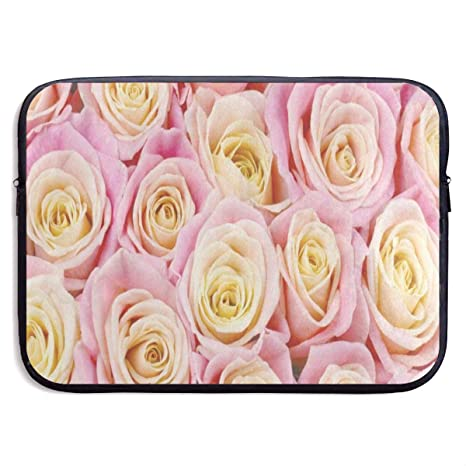 Funny Design Bunch of Pink Yellow Rose Flower Laptop Sleeve Waterproof Neoprene Diving Fabric Protective Briefcase