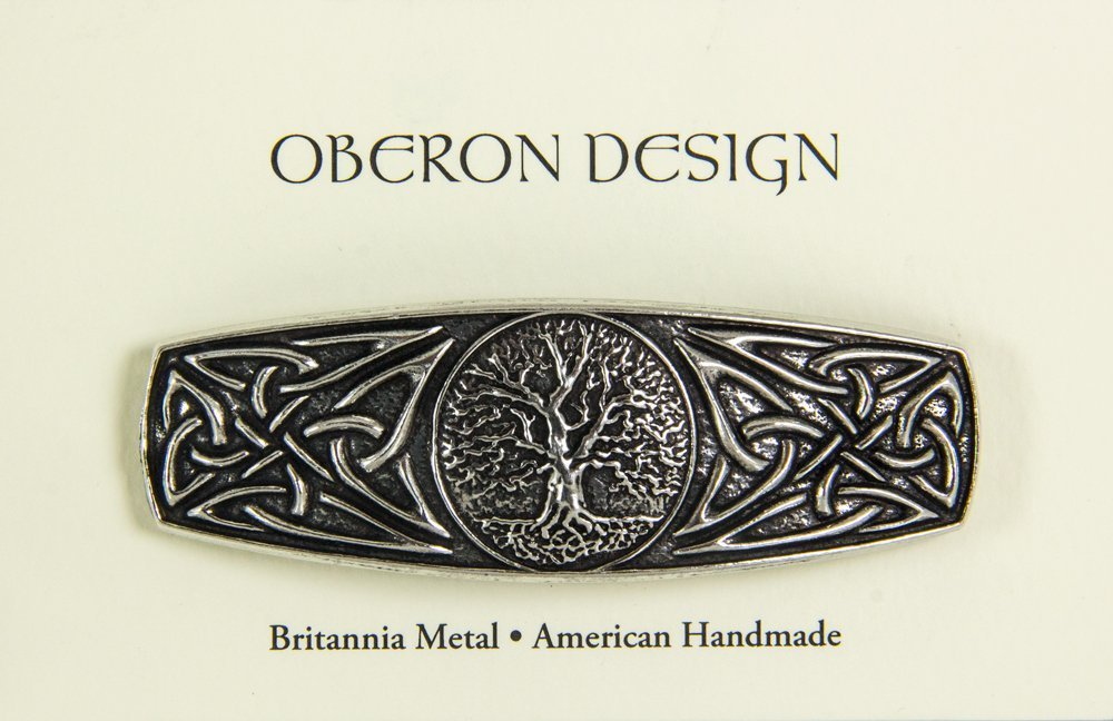 World Tree Hair Clip, Medium Hand Crafted Metal Barrette Made in the USA with a 70mm Imported French Clip by Oberon Design : Beauty
