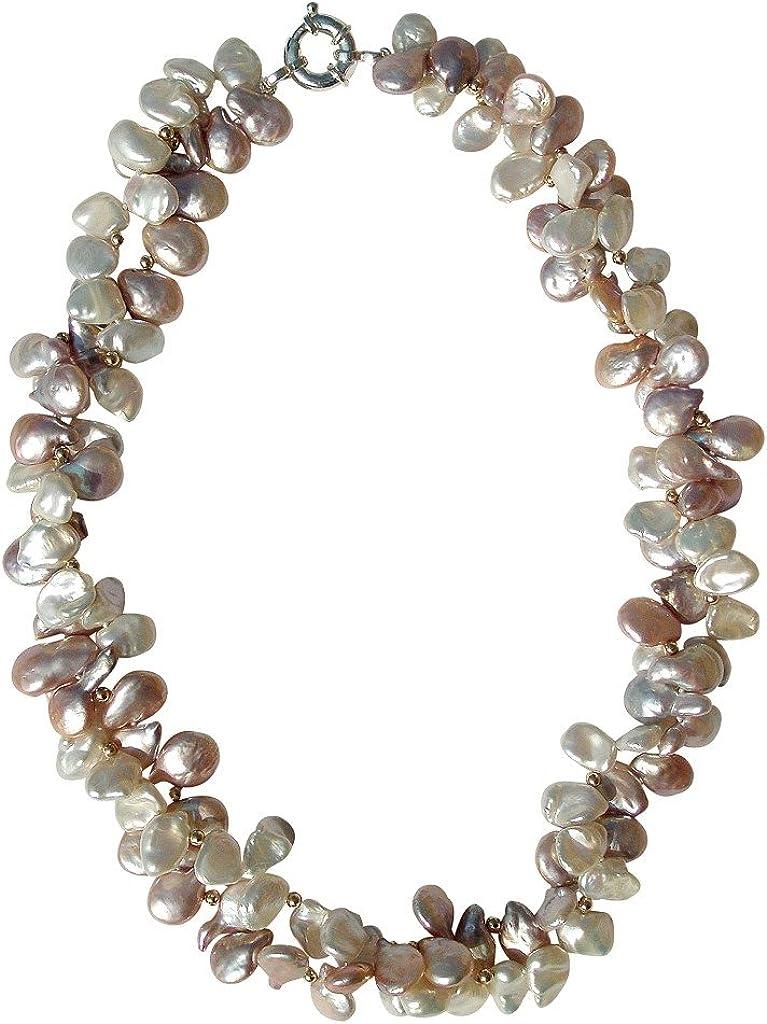 Maravilloso collar de dos vueltas con perlas blancas y rosa cultivadas de agua dulce con broche en plata