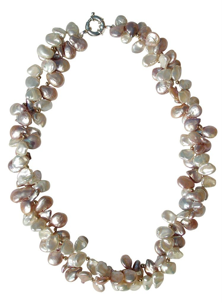 White And Pink Cultured Pearl Two Strand Necklace With A Silver Clasp