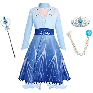 URAQT Elsa Frozen 2 Costume Ice Queen Elsa Princess Costume with Tiara Crown and Magic Wand for Kids Cosplay Christmas Party Costume Fancy Outfit