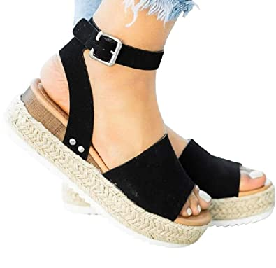 4c8af22444 DEARWEN Women's Open Toe Espadrilles Sandals Ankle Strap Platform Wedge  Studded Boho Cute Shoes Black US