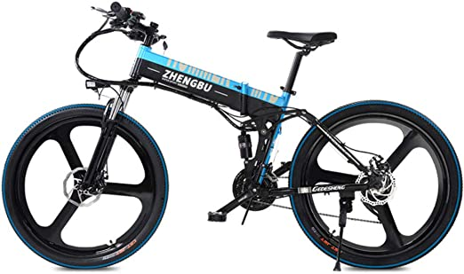 SportArts Bicicleta De Montaña Plegable Eléctrica con Neumático De Reparación Automática Y 48V Li-Battery Extraíble 27 Speed Gear,Blue-48V10AH: Amazon.es: Hogar
