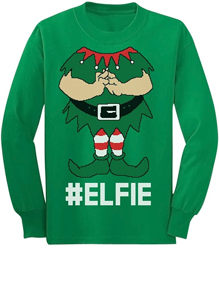 TeeStars - Elf Suit Funny Elfie Christmas Youth Kids Long Sleeve T-Shirt Medium Green GM0PllZgCmPrCm9Q
