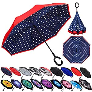 Zameka Double Layer Inverted Umbrellas Reverse Folding Umbrella Windproof UV Protection Big Straight Umbrella Inside Out Upside Down for Car Rain Outdoor with C-Shaped Handle (Blue Dot)