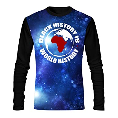 a10d05a2cd52 HNkiha Men s 3D Printed Casual T-Shirt Funny Map Black History is World  History Long Sleeve Summer Stylish Tees