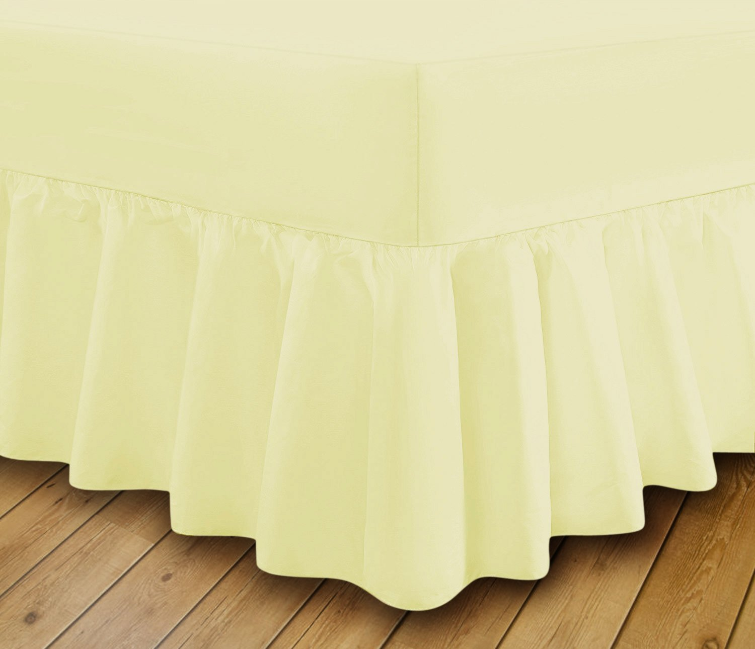 Extra Deep Fitted Frilled Valance Bed Sheet Easy Care 18 Colours, Double - Green Linen Zone