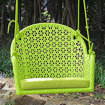 ART TO REAL Hanging Rope Swing Chair, Wicker Porch Swing Chair, Indoor And  Outdoor