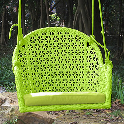 Pack of 2 Wicker Porch Swing Chair for Children or Adult, Hanging Rope Chair Swing Seat, Indoor and Outdoor Playground Swing Set Accessories, UV Resistant (Green) (Cushions Chair Rocking Replacement Gliding)